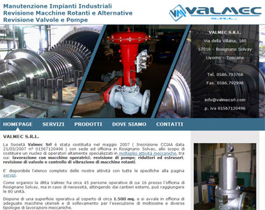 Valmec Srl: Industrial Plant Maintenance, Inspection Equipment, Valves and Pumps | Rosignano Solvay, Livorno - Toscana